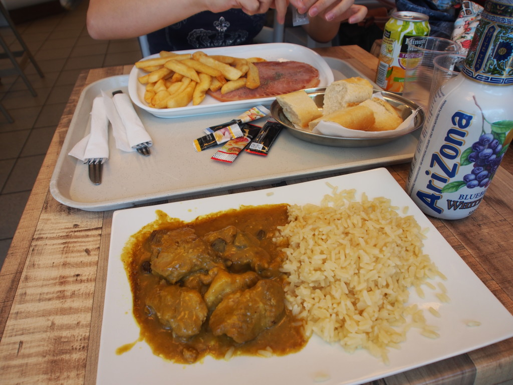 Our lunch at the service station.