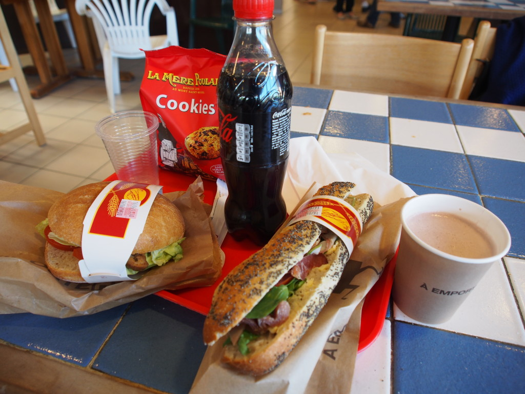 Lunch at the service station.