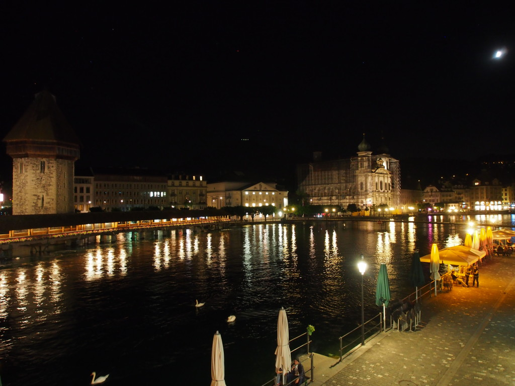 Night view of Lucerne lake.