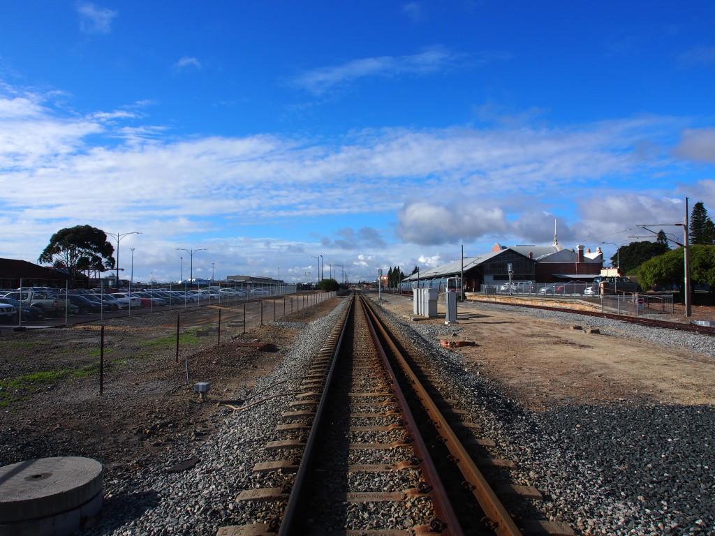 Crossing the railway tracks.