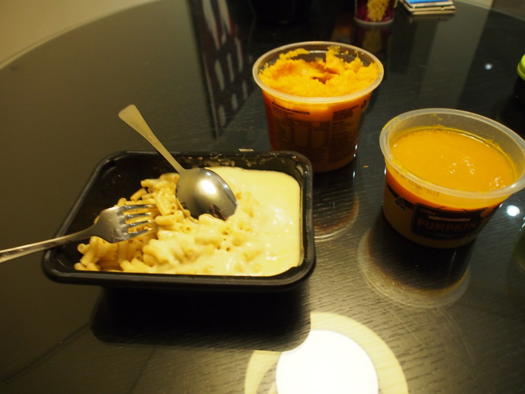Pasta and cheese with pumpkin and veg mash.