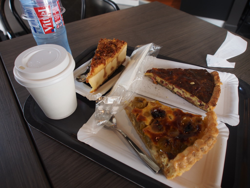 Lunch of Quiche, tart and cheesecake.