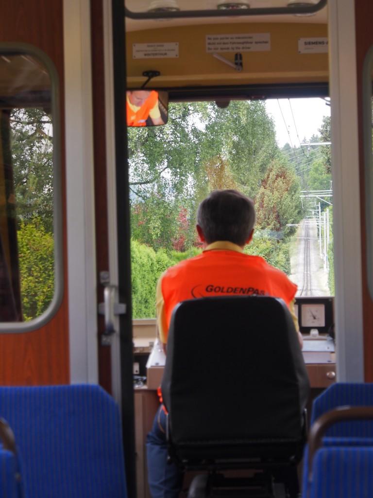 The viewpoint of the train driver, a steep climb ahead.