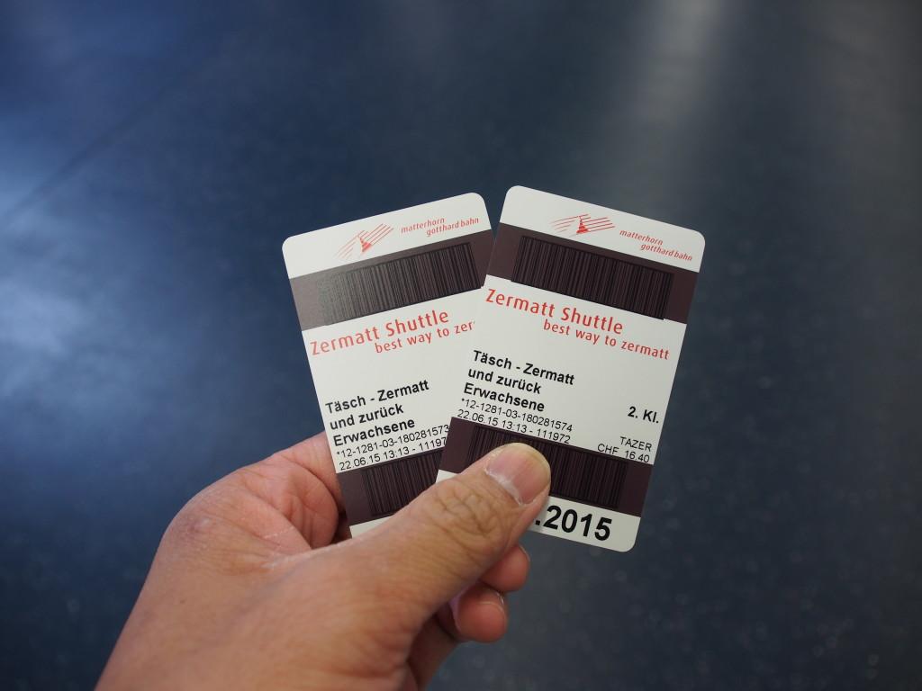 Shuttle train tickets.