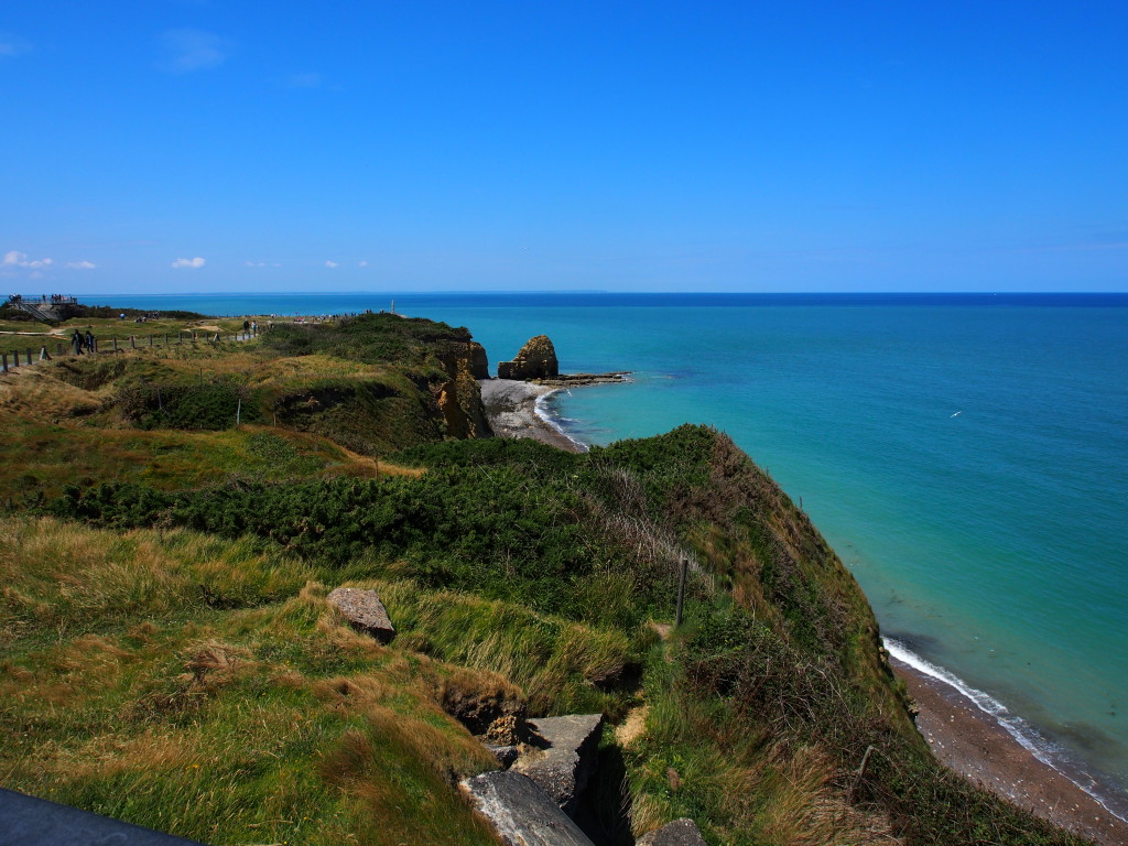 View of the beach at Pointe du Hoc. Challenging position for the allies.