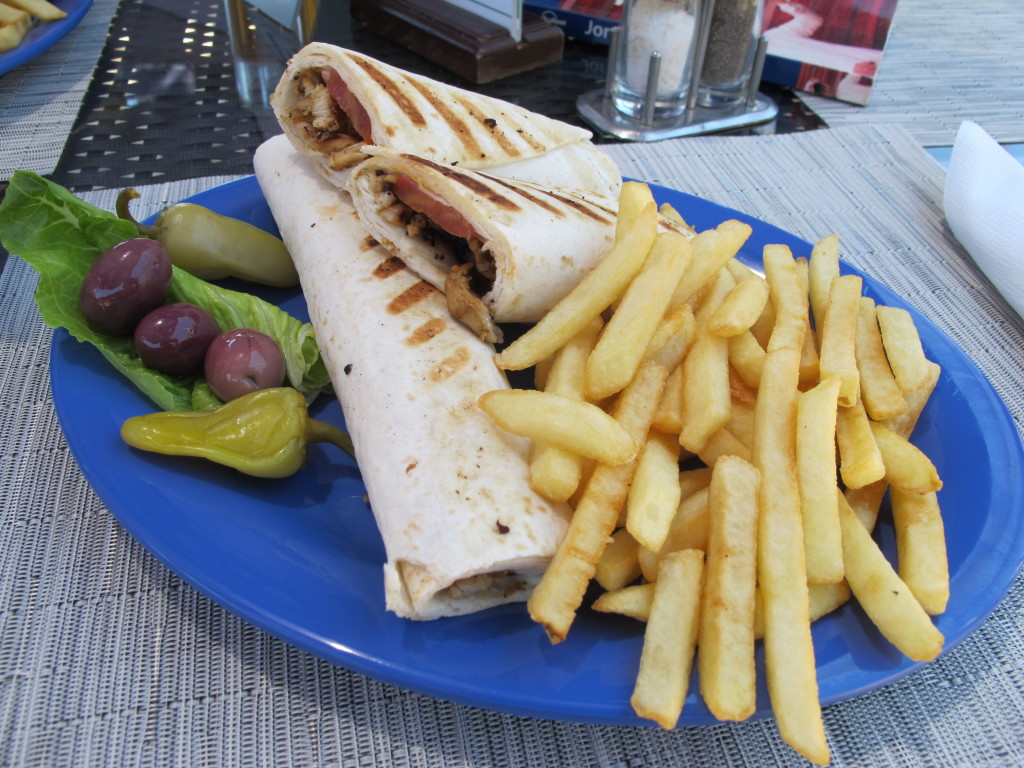 Our lunch of wraps and chips.