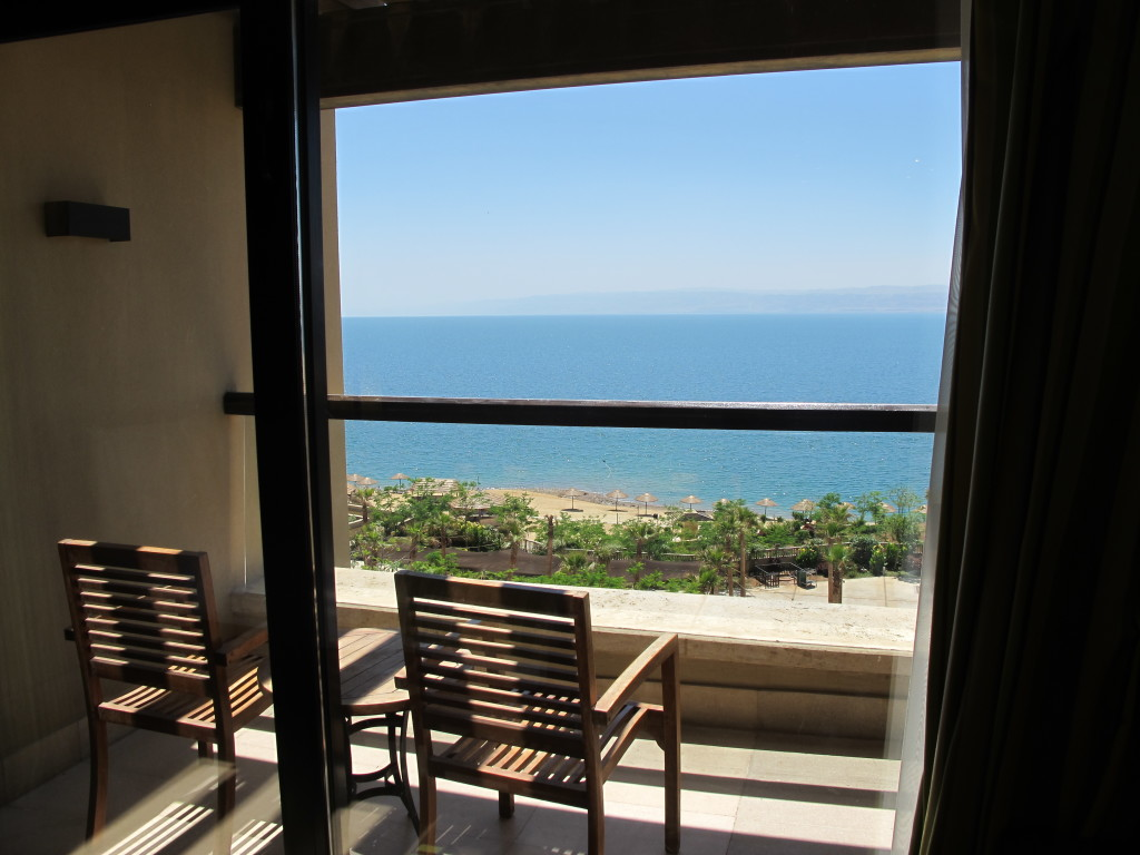 Balcony view of the dead sea.