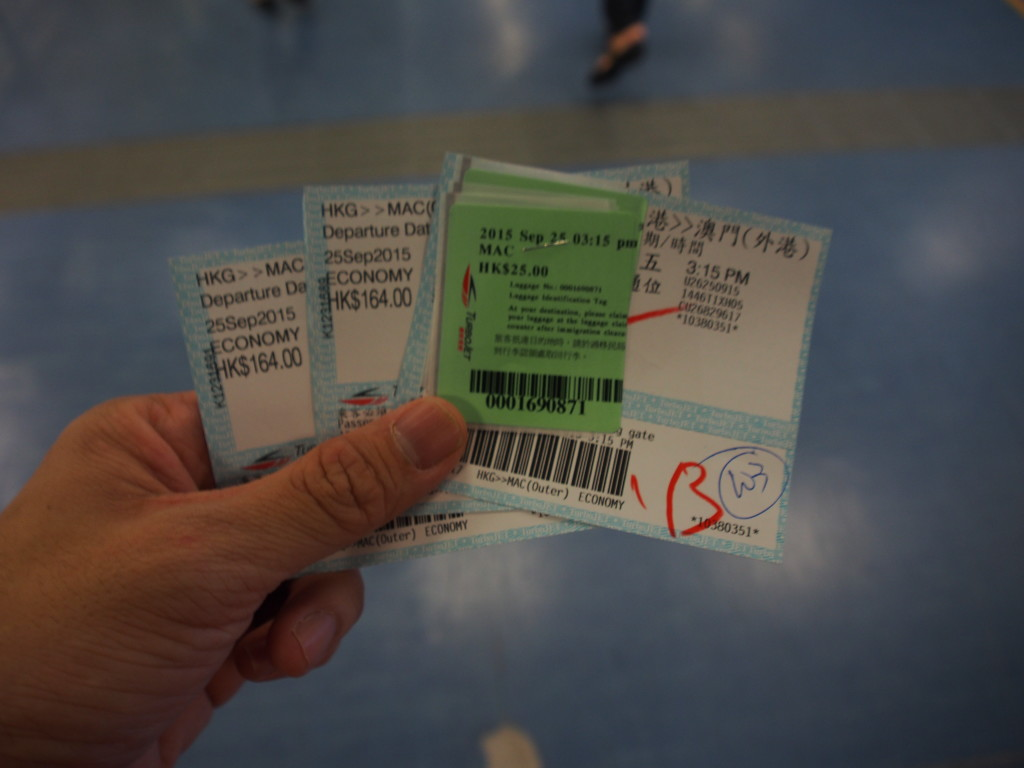 Tickets with the luggage tag.