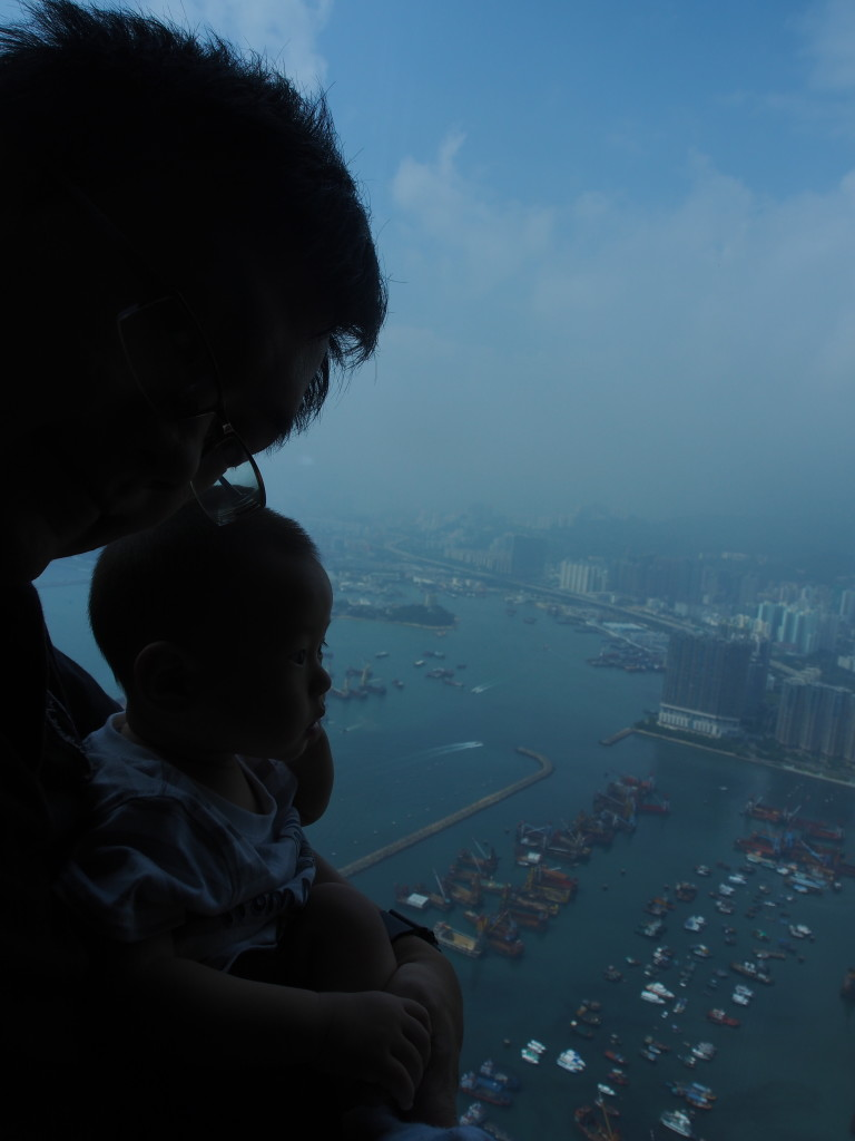 My failed attempt at taking a selfie with baby K admiring the view.