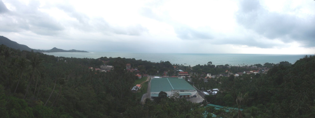 View with cloudy skies at the viewpoint.