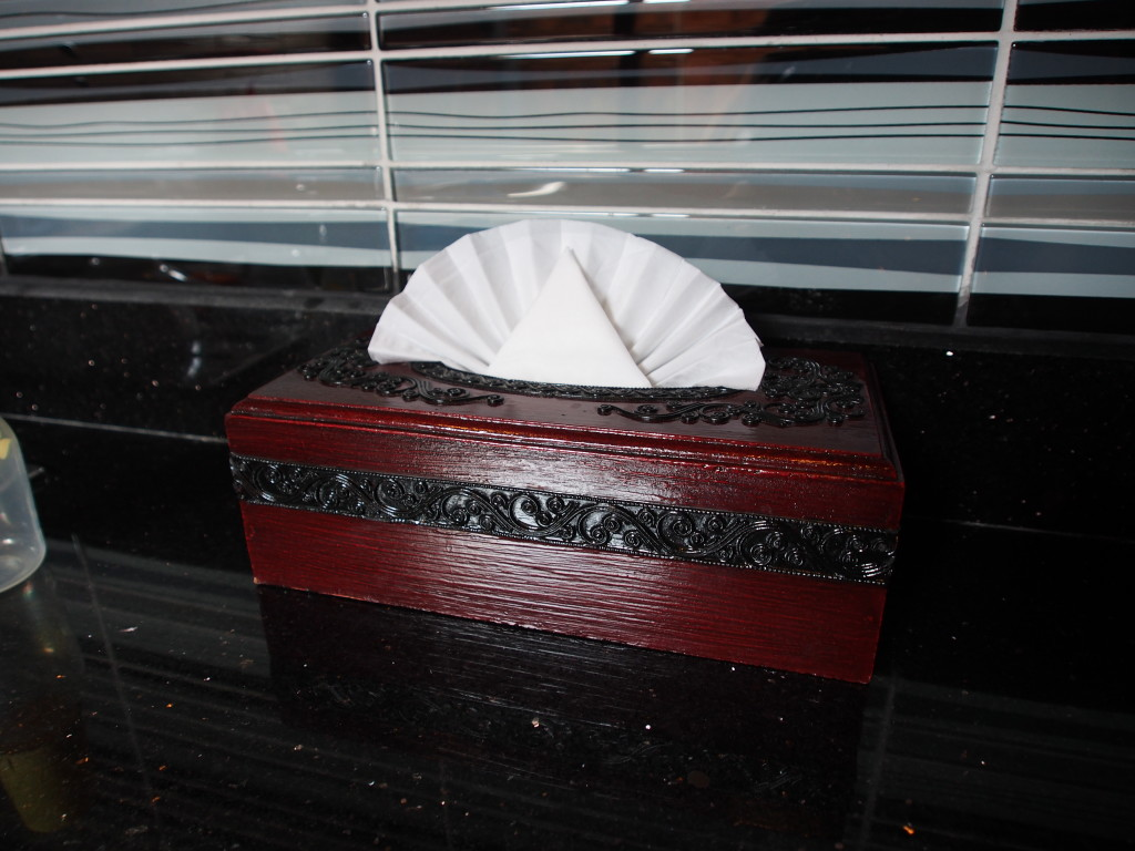 Tissue box with fan tissue deco.