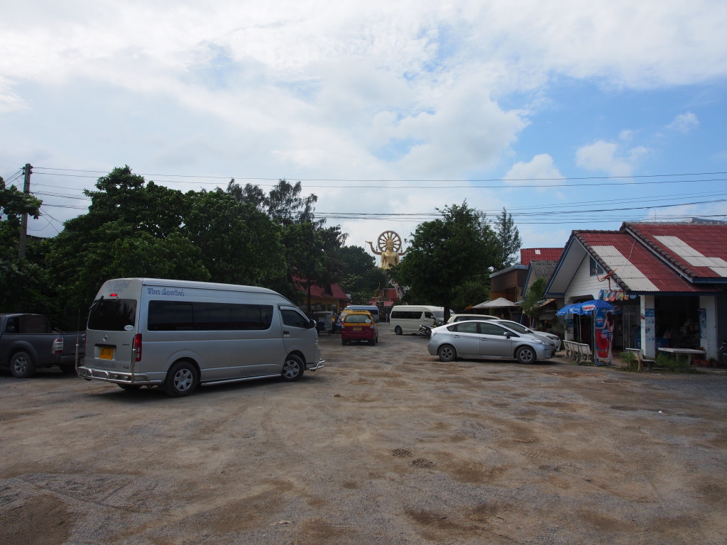 Parking lot and the surrounding touristy shops.
