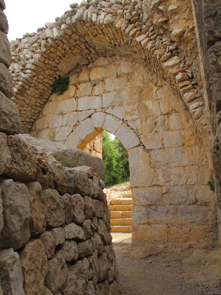 Stone walls of the door arch still standing.