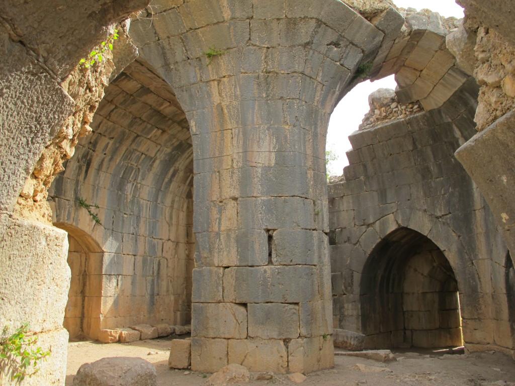 Impressive large stone pillars creating the arches.