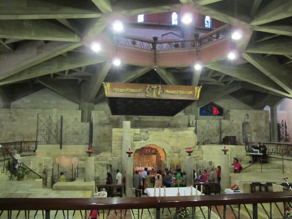 Inside the church enclosing the home of Virgin Mary.