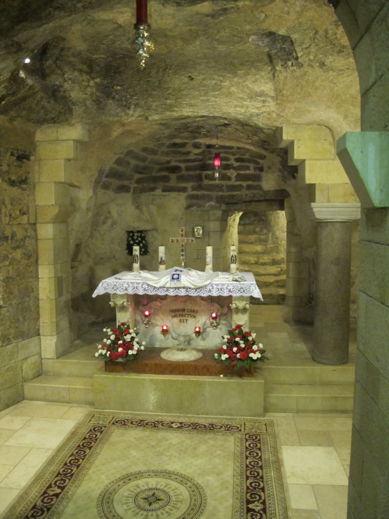In the crypt of the church.