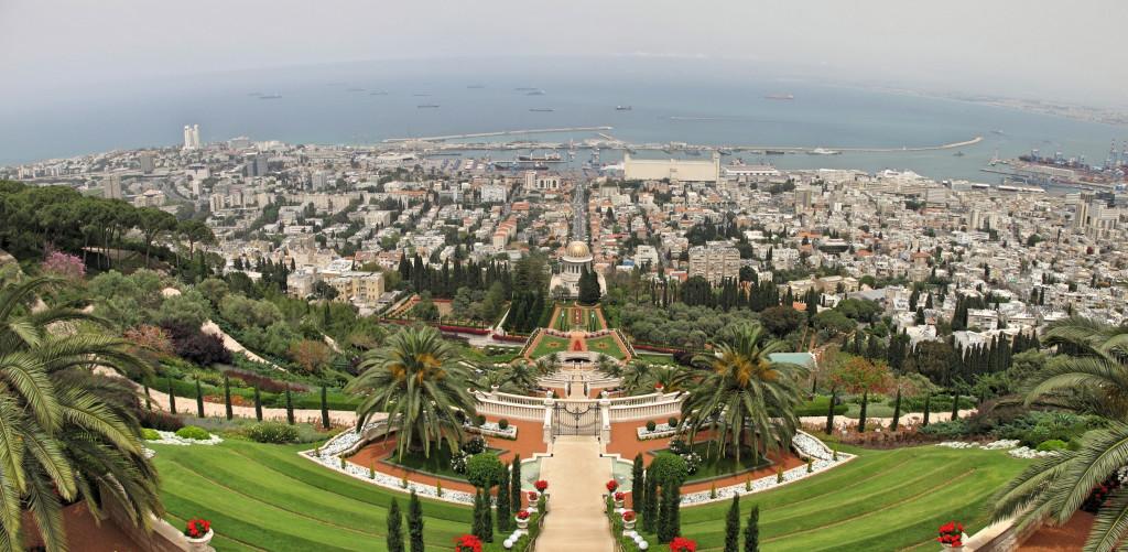 Panoramic view of the Bahai Gardens.