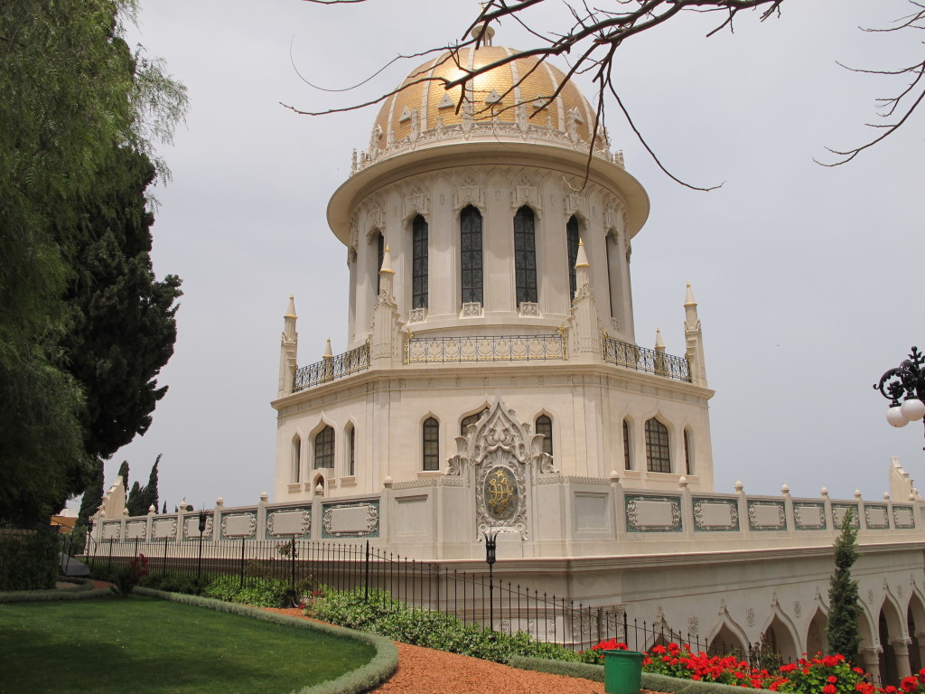 Shrine in the middle of Bahai gardens.