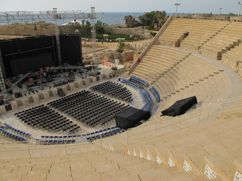 Amphitheatre still in use today! Modern stage set up for a performance.