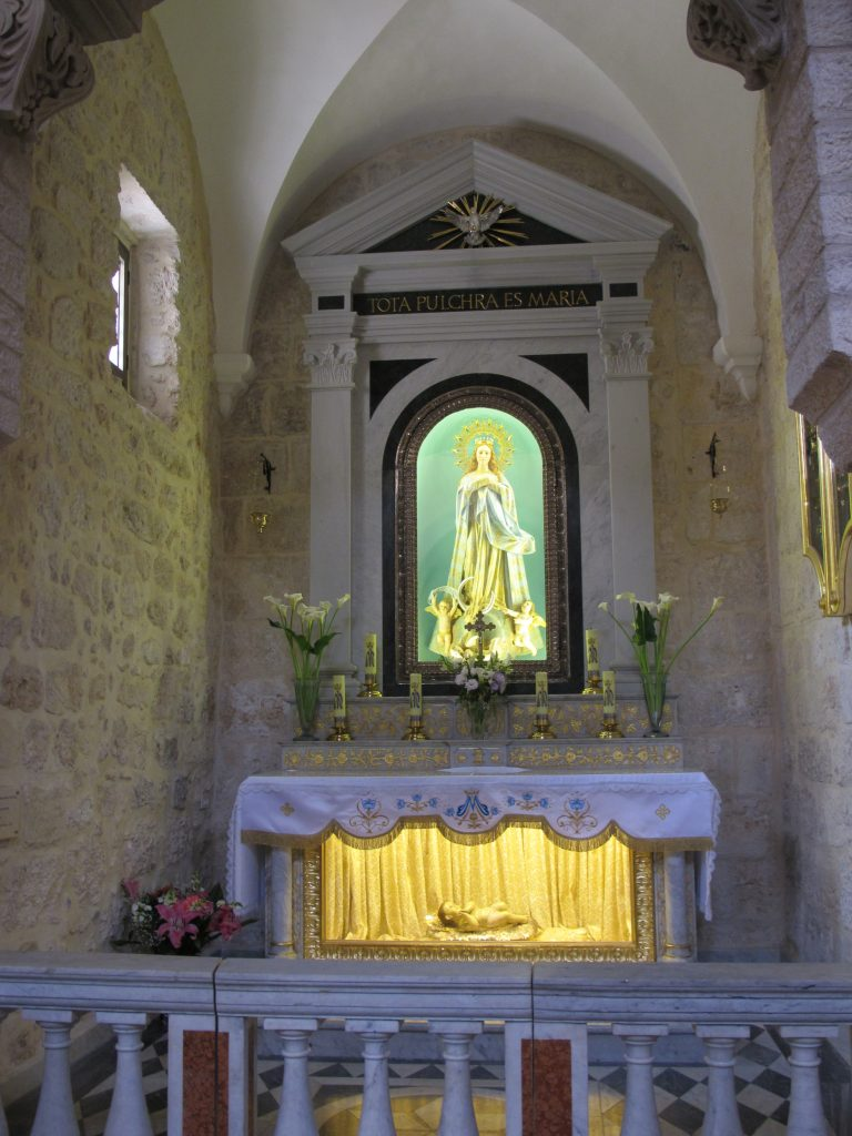 Statue of baby Jesus inside the church.