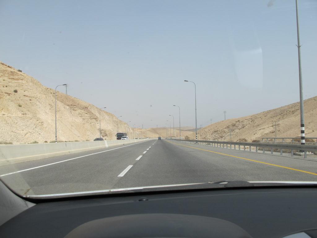 Driving on the highway towards Masada.