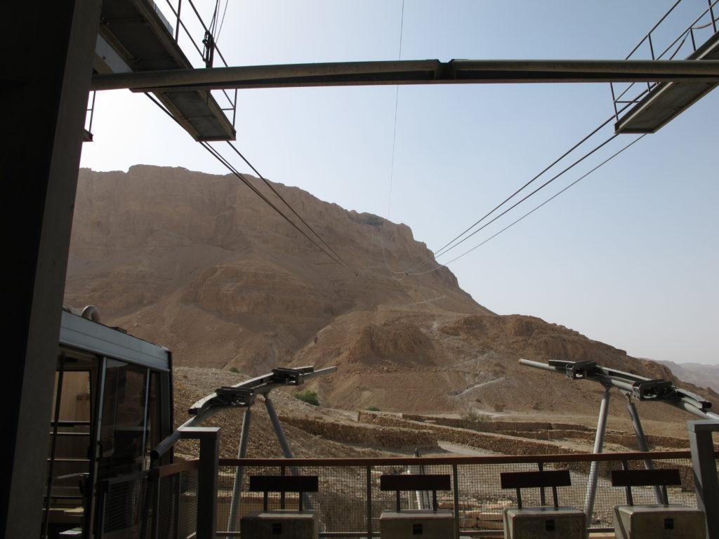 Cable car ride up to Masada fortress.