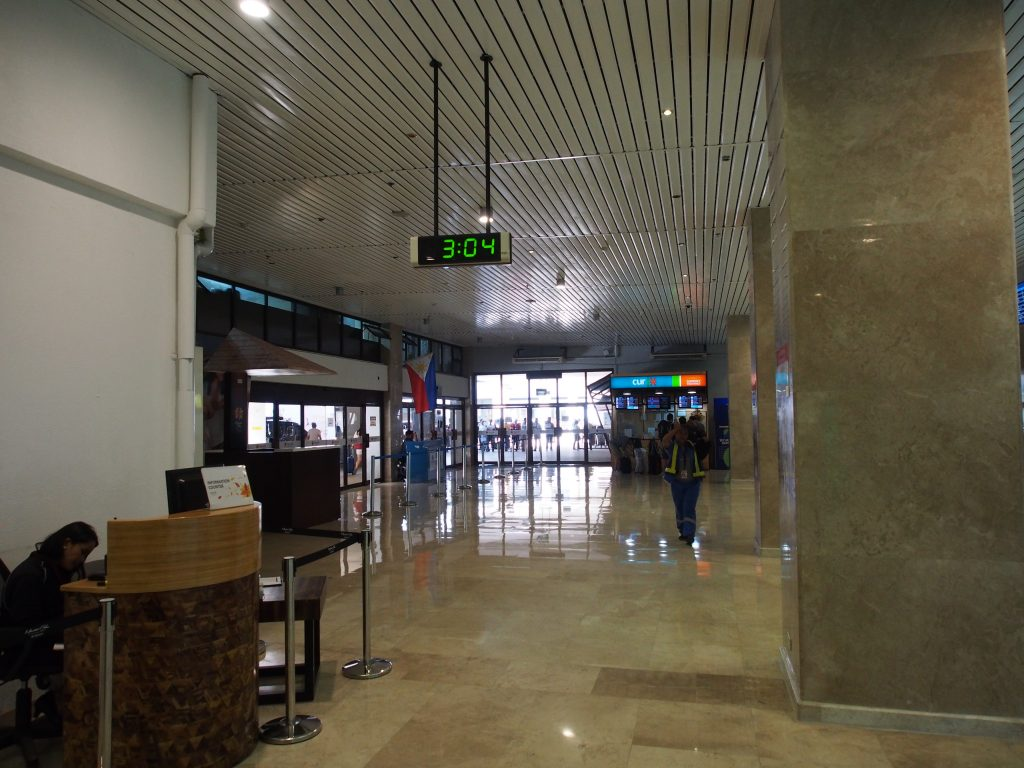 Inside the airport.
