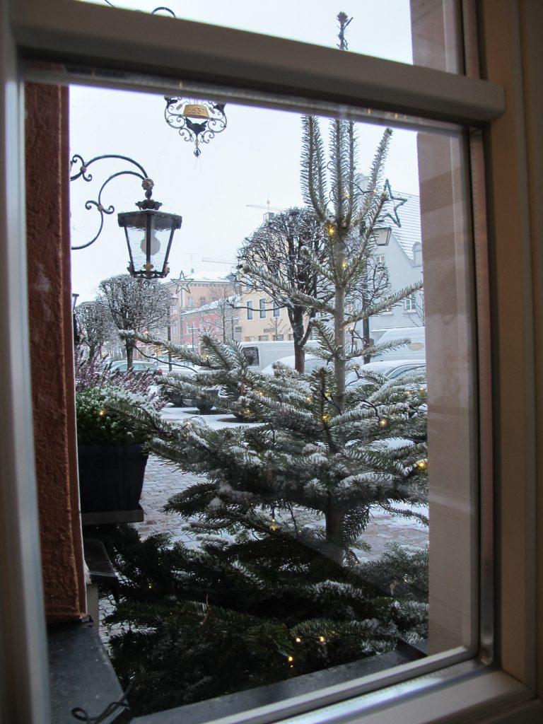 Snowing outside the window.