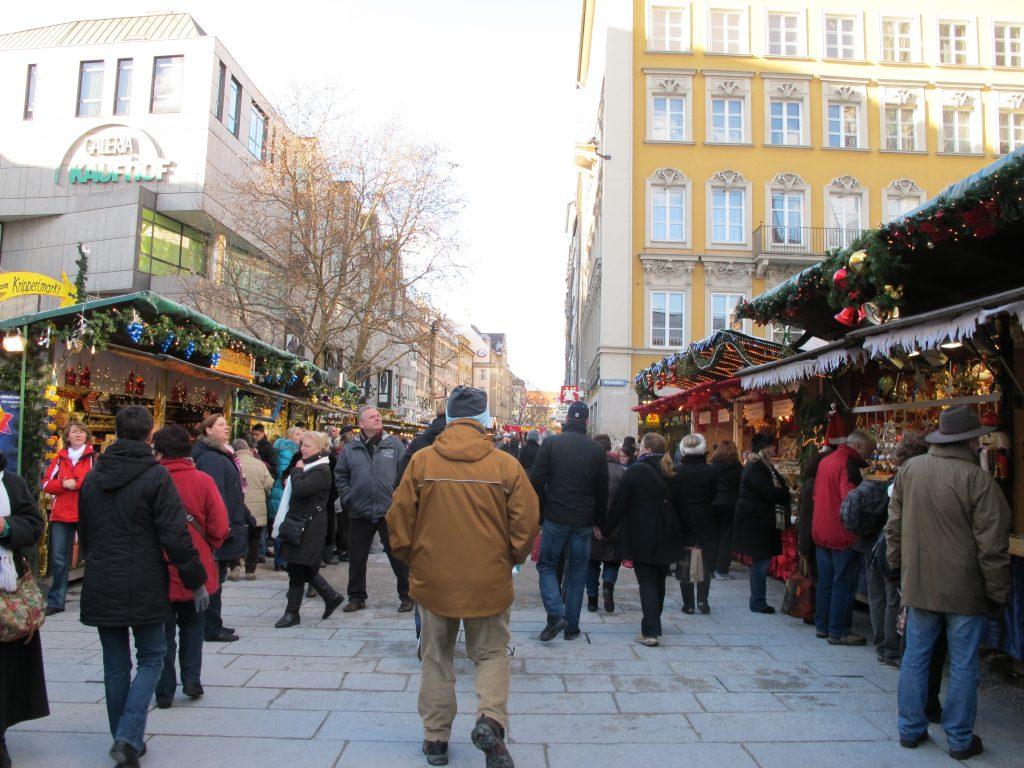 Crowded street walking the markets.