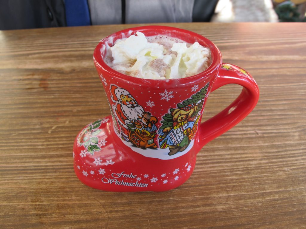 Hot choco in a refundable Santa boot.