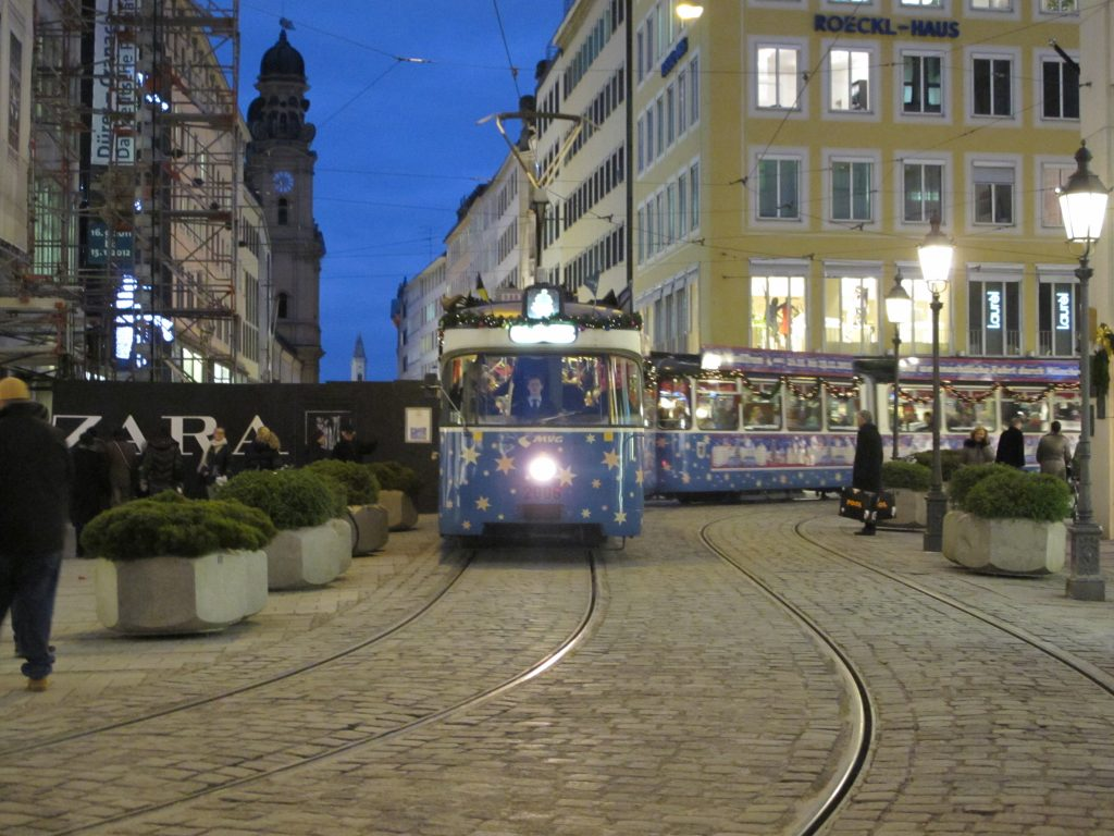 Even trams were decorated.