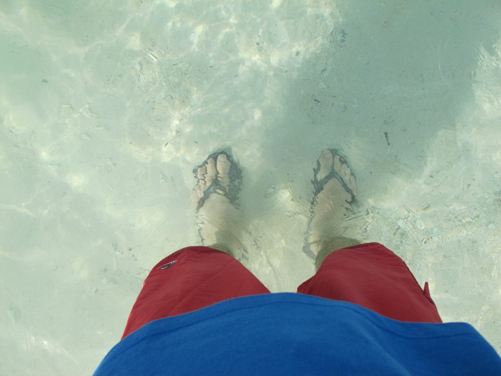 Clear and low waters.