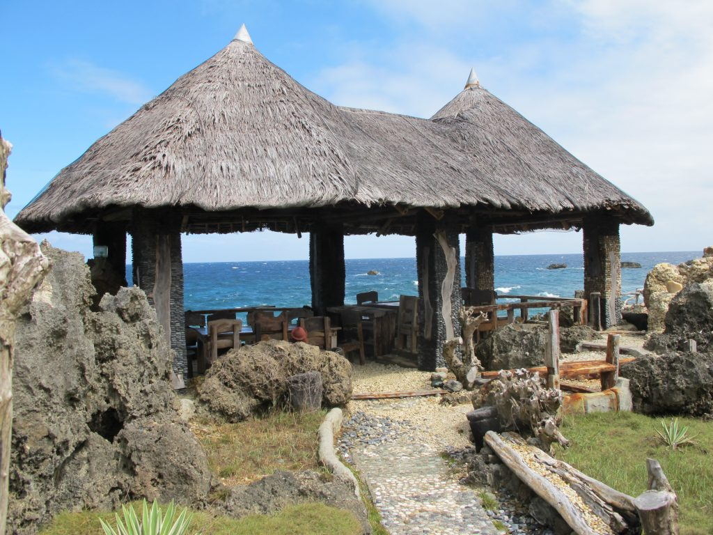 Huts on the island.