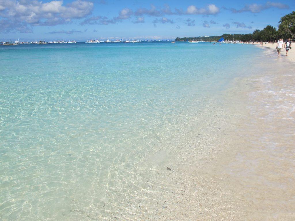 Clear blue sea.