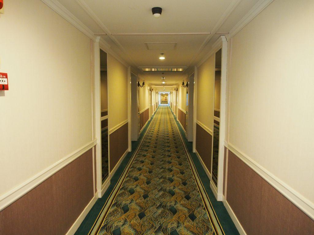 Long corridors of rooms.