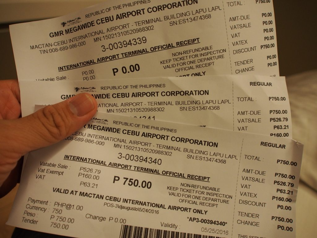Receipts of the terminal fees.