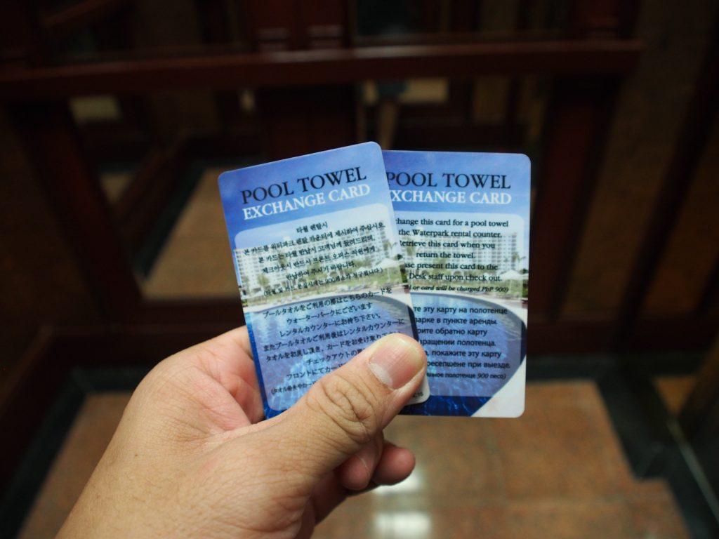 Pool towel cards.
