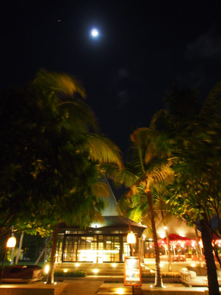 View at night from the beach.