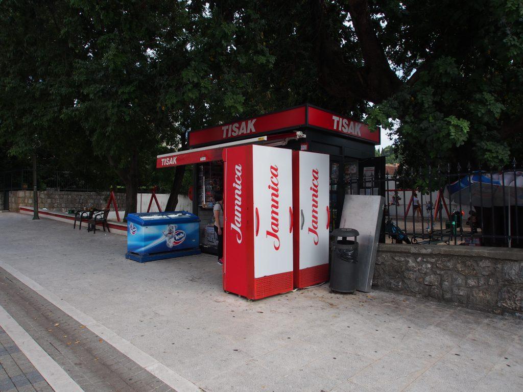 Bus tickets kiosk.
