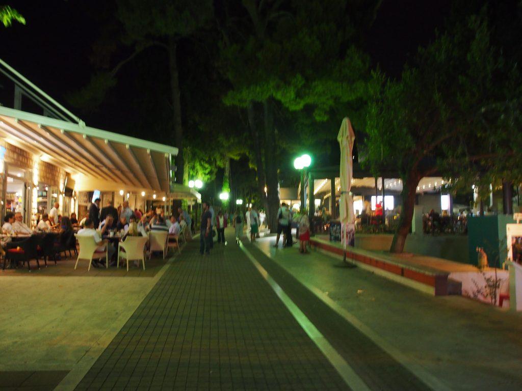 Pedestrian street at night.